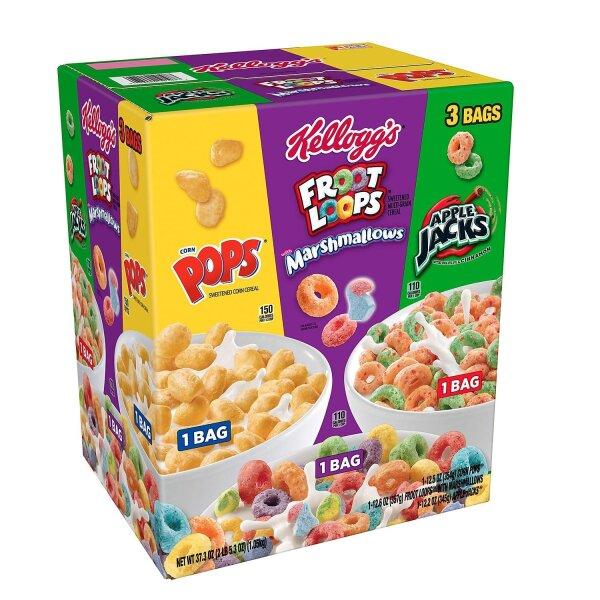 Kellogg's Tri-Fun Cereal: Froot Loops Marshmallows - Corn Pops - Apple Jacks 1,1Kg